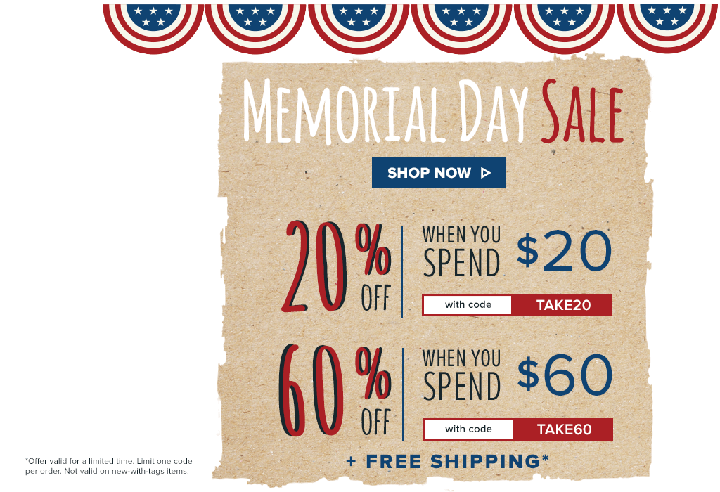 fe4df4f6cc4a8 Memorial Day Sale - Take Up to 60% Off. Plus, get a $30 credit if ...