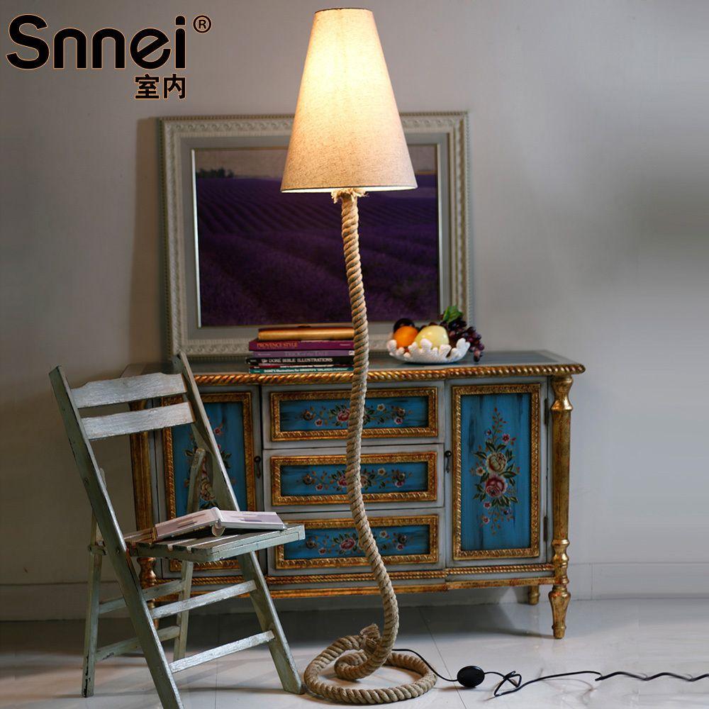 Pas cher chambre snnei nei tani r tro lampadaire de table ornements de la lampe corde - Lampadaire chambre ...