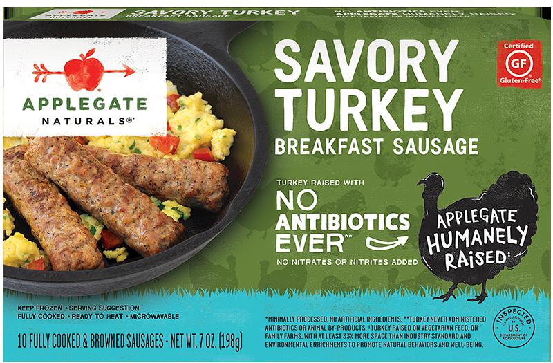 Products - Breakfast Sausage - Natural Peppered Turkey Breakfast Sausage - Applegate