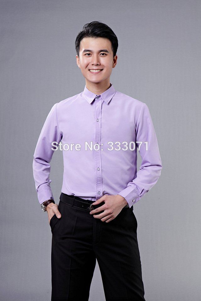 Click to Buy << 2016 New lilacs Long-sleeved Men Shirt Wedding/Prom ...