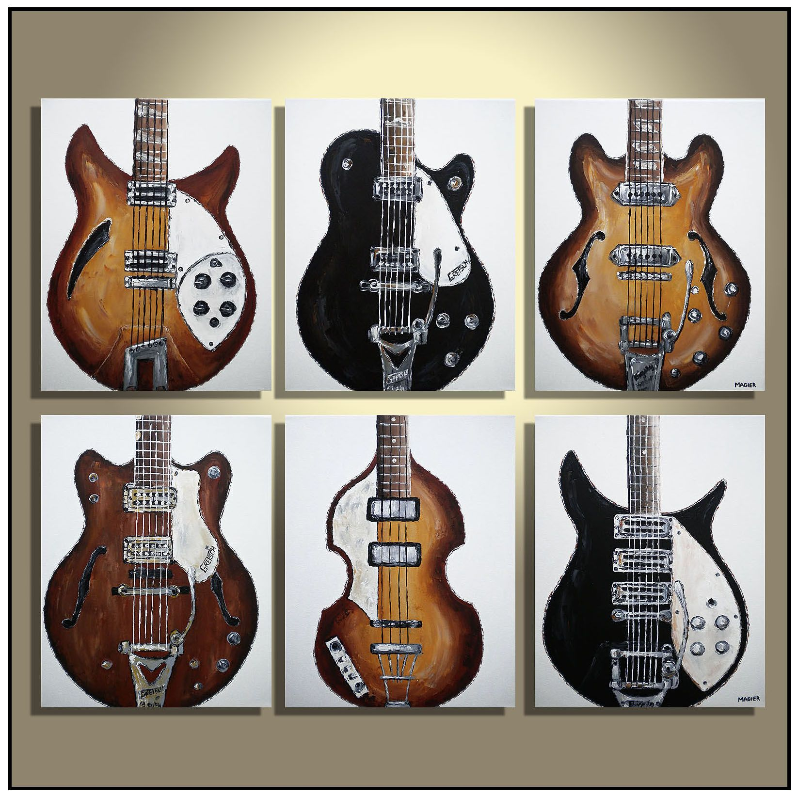 the beatles guitars set of 6 music studio ideas original guitar painting on canvas guitar. Black Bedroom Furniture Sets. Home Design Ideas
