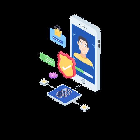 Premium Face Recognition App Illustration Download In Png Vector Format Face Recognition Illustration Isometric Illustration