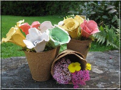 fleurs en carton boite oeufs perles avec des boites a oeufs pinterest boite a oeuf. Black Bedroom Furniture Sets. Home Design Ideas