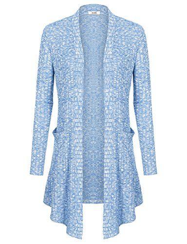 Women Long Cardigan Vivilli Womens Long Sleeve Open Front Drape Casual Knit  Cardigan Blue XXLarge >