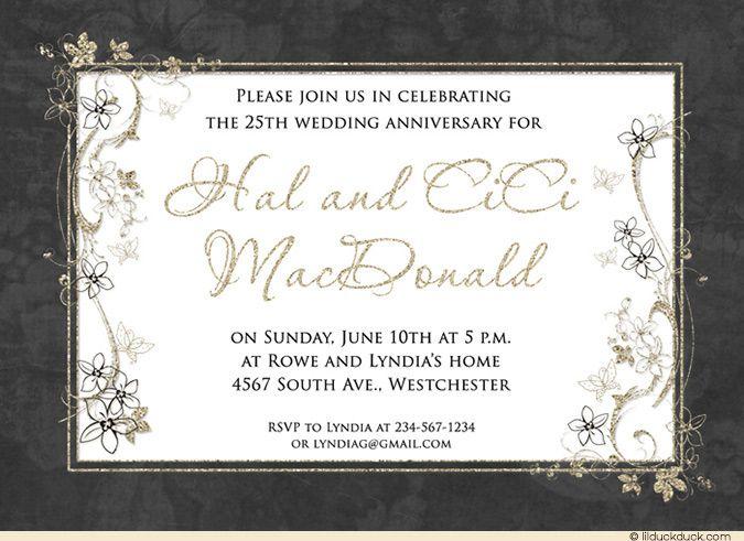 Floral Wedding Anniversary Invitation Design Idea