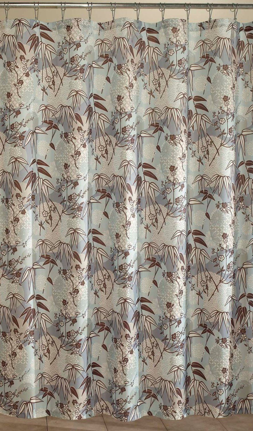 New M Style Asian Floral Blue Brown White Fabric Shower Curtain