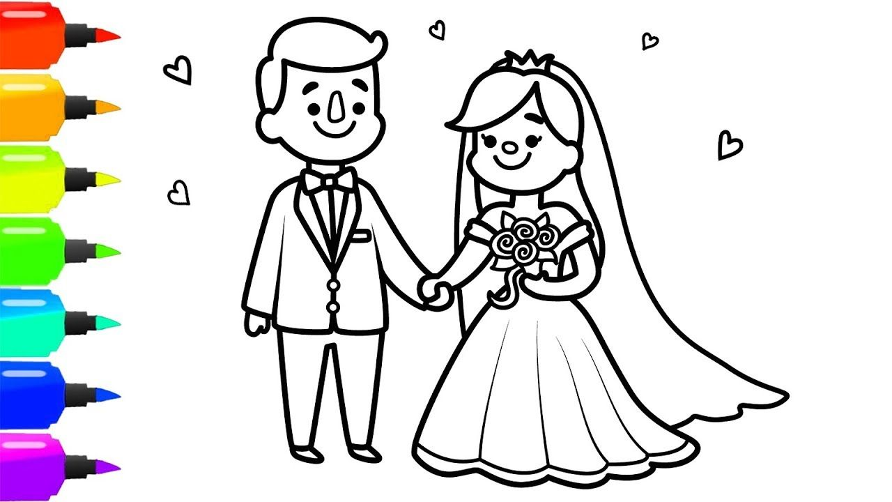 Bride And Groom Coloring Page For Kids How To Draw Bride And