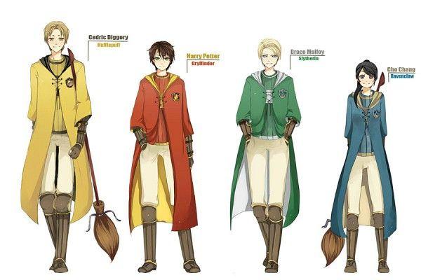 Attrapeurs du quidditch  cédric, harry, drago et cho