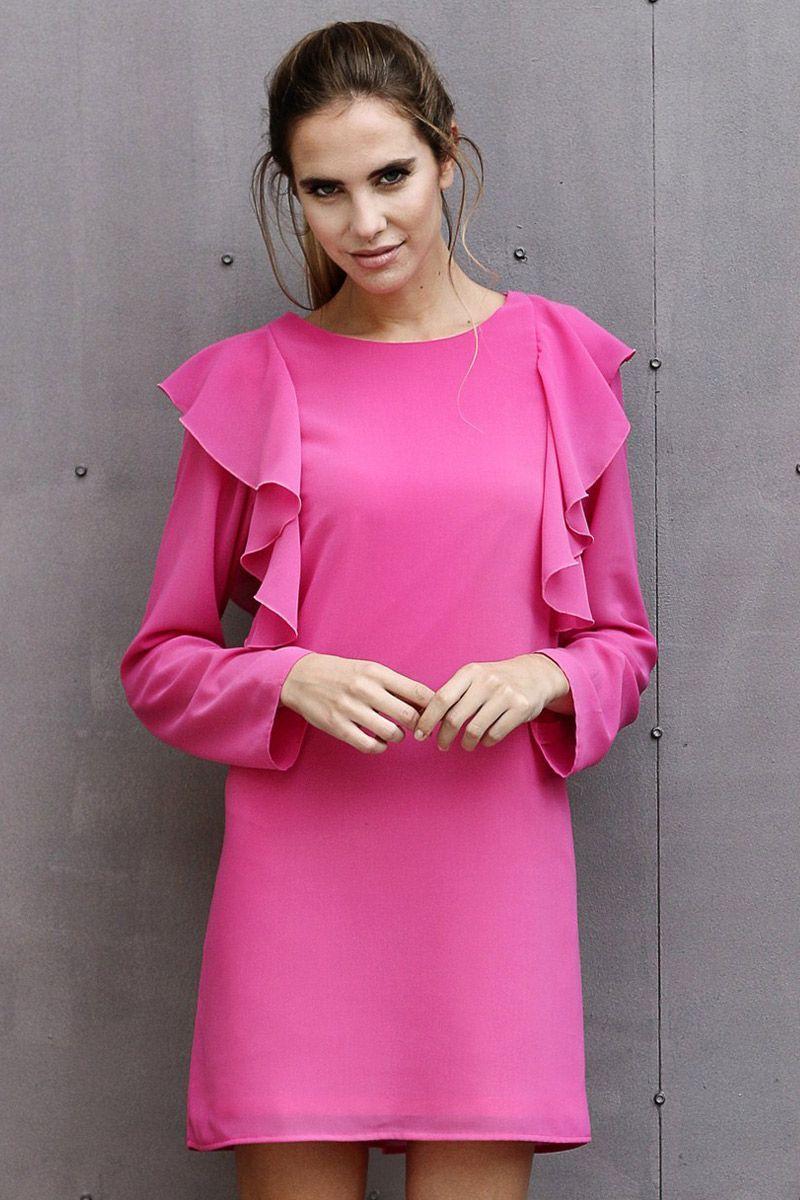 Vestido Volantes Claudina | Vestido rosado, Nochevieja y Volantes