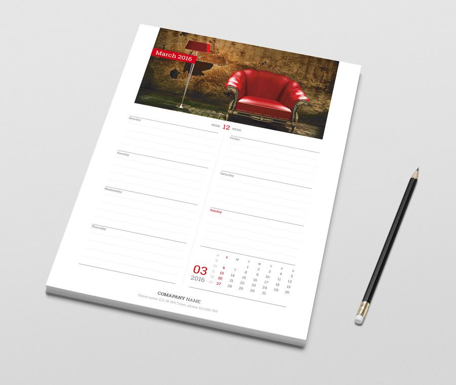 Weekly Desk Table Planner With Calendar Printable Template PtW