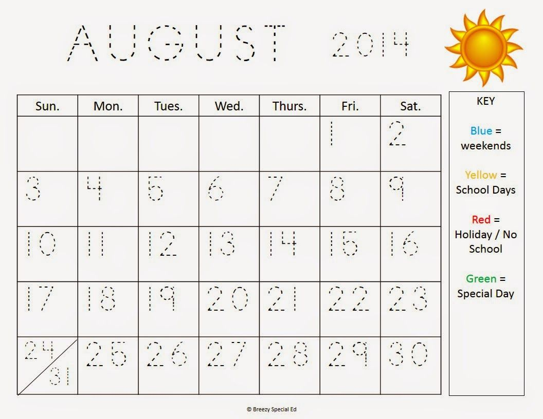Traceable calendar worksheets – Special Education Worksheets