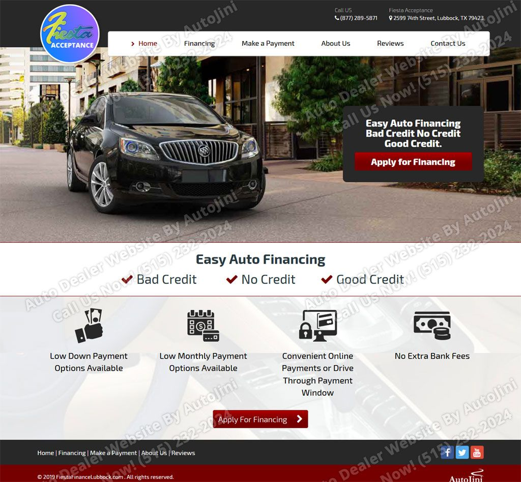 Fiesta Acceptance Website Design By Autojini Com Good Credit Home Financing Car Finance