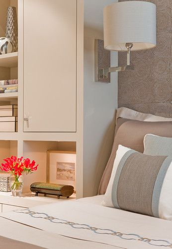 Tall cabinet next to the bed.  Use rustic wood.  The Bryant contemporary bedroom