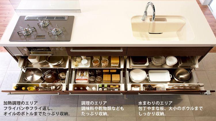キッチン収納 キッチンカウンター キッチンキャビネット収納 キッチンアイデア キッチン 収納 引き出し