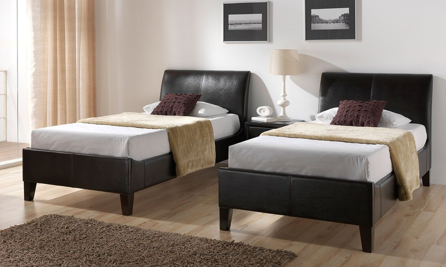 Double bed furniture design - Stylish Double Leather Black Single Bed Designs Hard Wood Flooring Single Bedroom Designs Modern