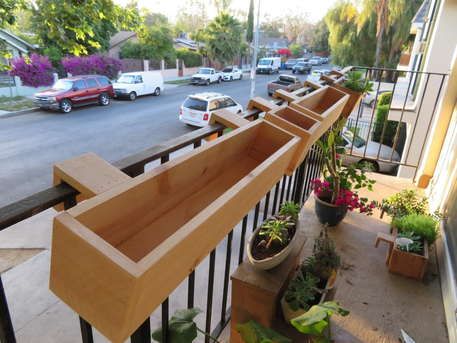 Balcony Rail Planter Box Etsy Small Balcony Garden Balcony Planters Apartment Balcony Garden