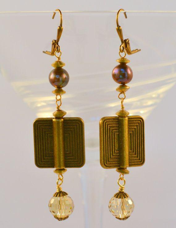 Bronze Dangle Earrings Art Deco Vintage by RueRueOriginals on Etsy