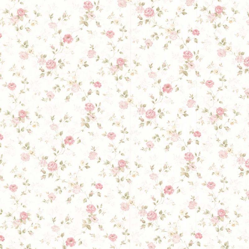 Wundervoll Vintage Rose englische Landhaus Satintapeten kleine rankende Rosen  GE88