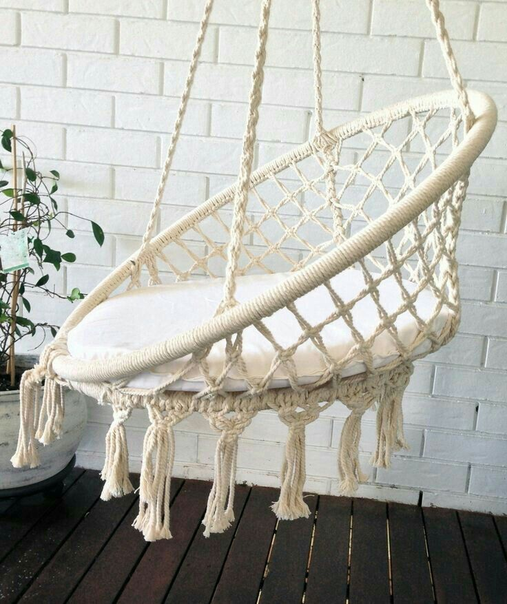 adorable macrame swing macrame pinterest kn pfen balkon und rund ums haus. Black Bedroom Furniture Sets. Home Design Ideas