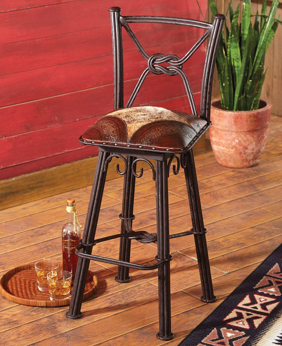 Coronado iron barstool with swivel back set of 2