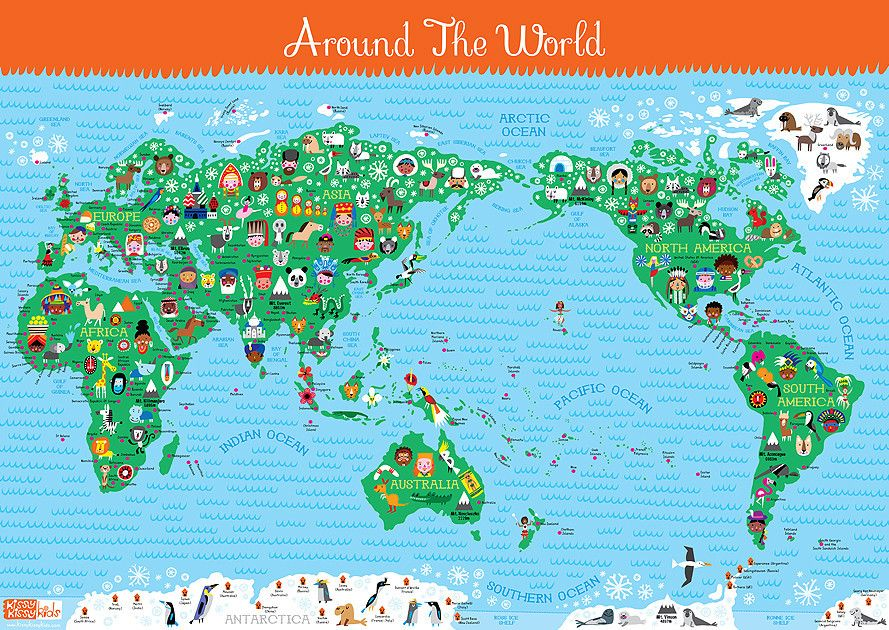 Printable World Map for Students  for kids the illustrator who