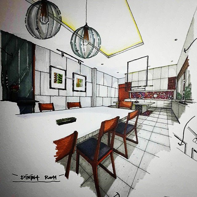 Interior Design Sketches Kitchen dining #freehand #drawing #sketch #perspective #interior #design