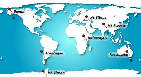 Mt Kilimanjaro On World Map.The 7 Summits The Highest Mountain On Each Continent Of The World