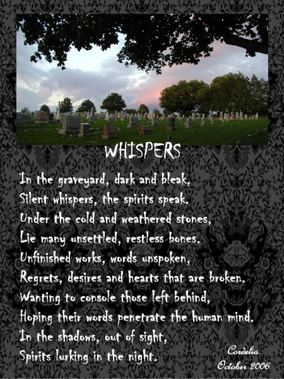 Samhain - A poem I wrote for our 2006 Samhain ritual. The photo was taken in Greenmount Cemetery in York, PA where some of my ancestors are buried.