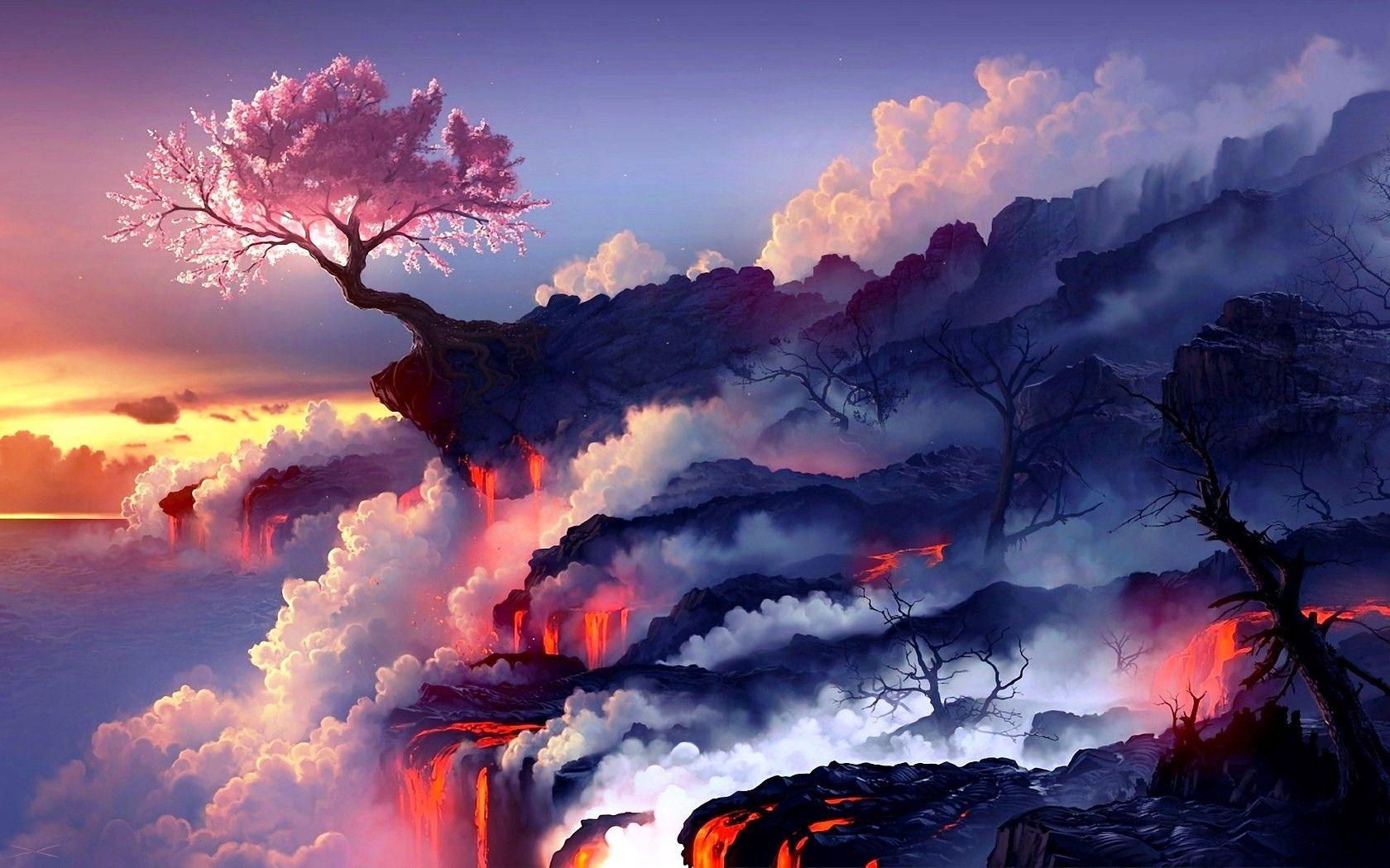 Game Magic The Gathering Landscape Sakura Blossom Sakura Tree Wallpaper Scenery Wallpaper Fantasy Landscape Anime Scenery Wallpaper