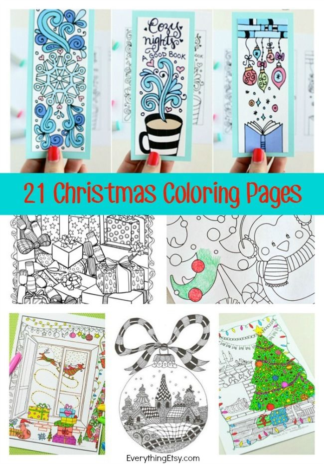 21 Christmas Printable Coloring Pages (Everything Etsy) | 21st ...