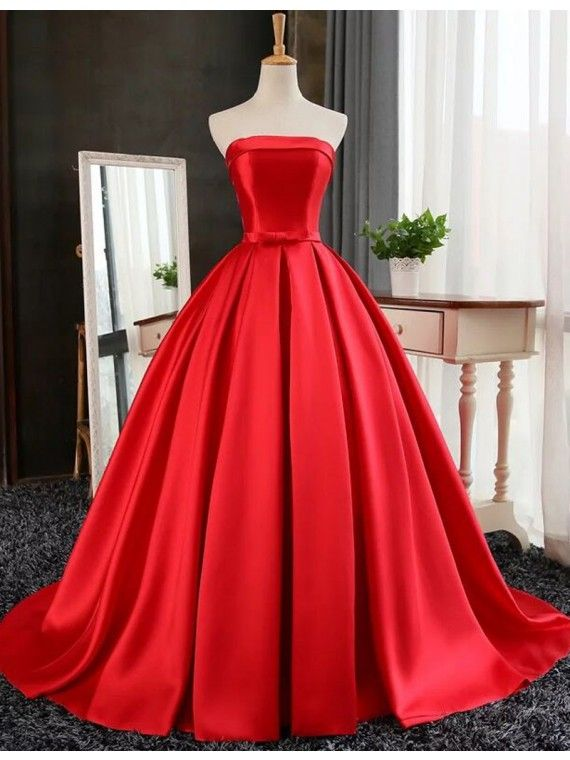 9457ba8fe00 Ball Gown Strapless Floor Length Red Prom Dress with Pleats ...