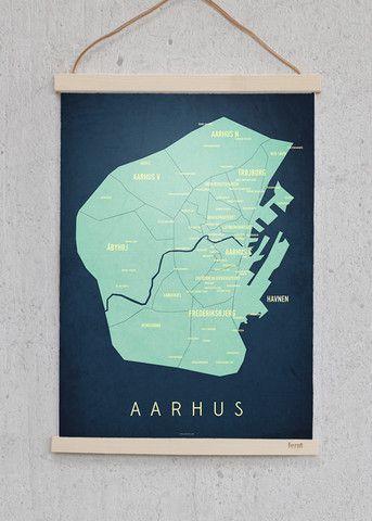 Aarhus Kort Med Billeder Malerier Plakater Kort