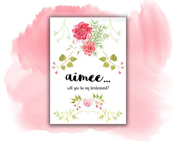 Will You Be My Bridesmaid Card Digital Template | Will You Be My ...