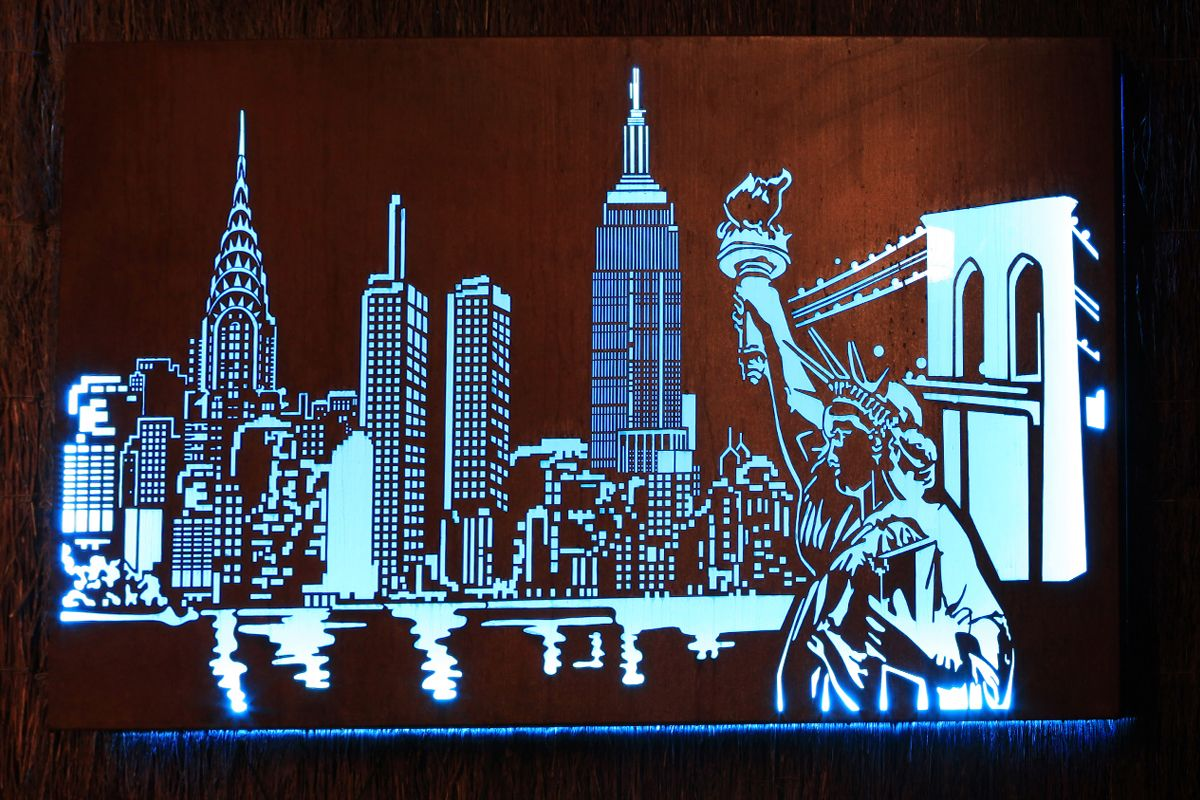 Laser cut New York Skyline metal art design with internal LED