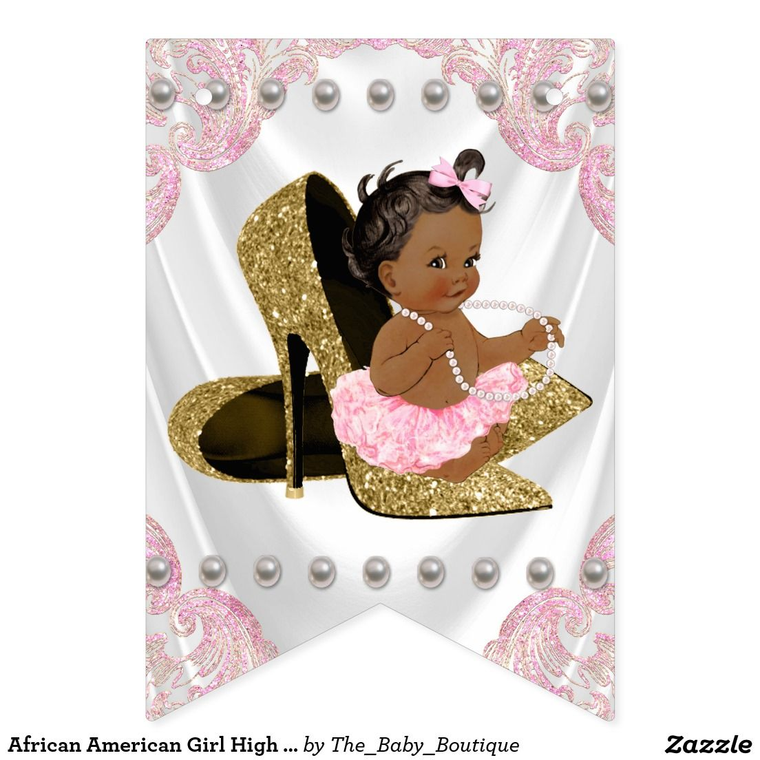African American Girl High Heel Shoe Baby Shower Bunting