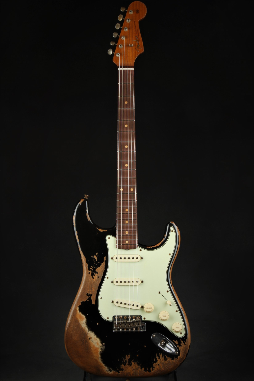 Fender Custom Shop Limited 60 63 Stratocaster Super Relic Aged Black 1961 Reissue Fender Custom Shop Fender Custom Shop Stratocaster Stratocaster Guitar