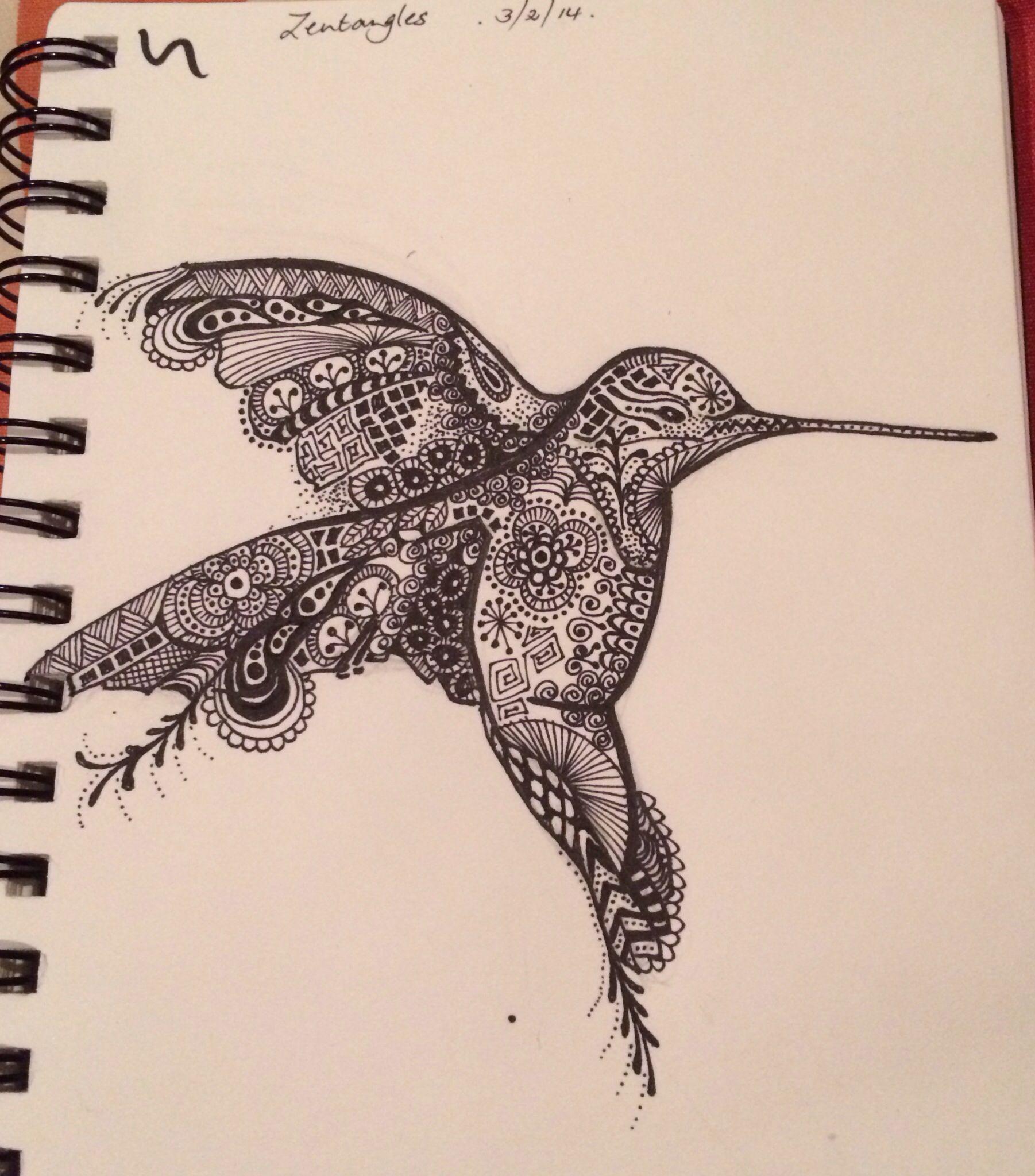 Hummingbird doodle. First attempt at zentangling. MadeByBendy.