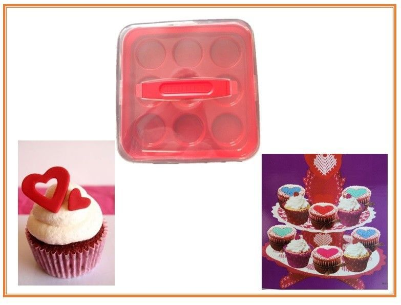 Details about cupcake holder set red plastic no bpa