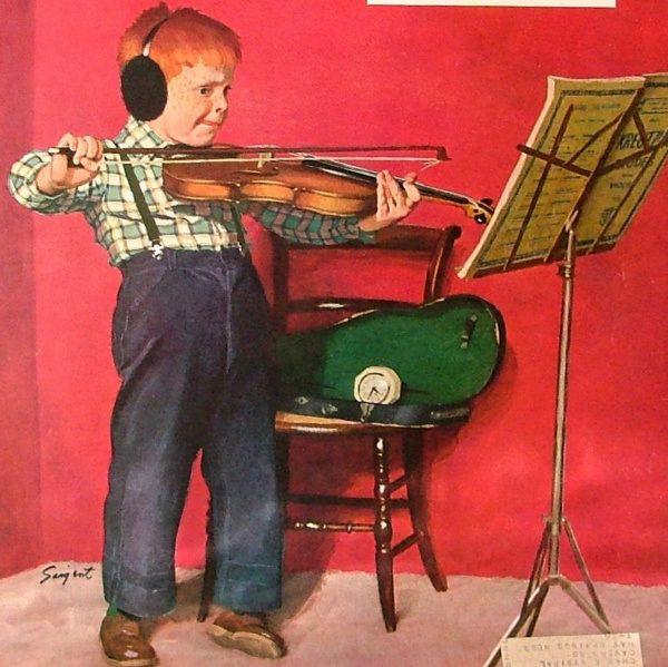 Violin Practice-Dick Sargent (1911 – 1978, American)