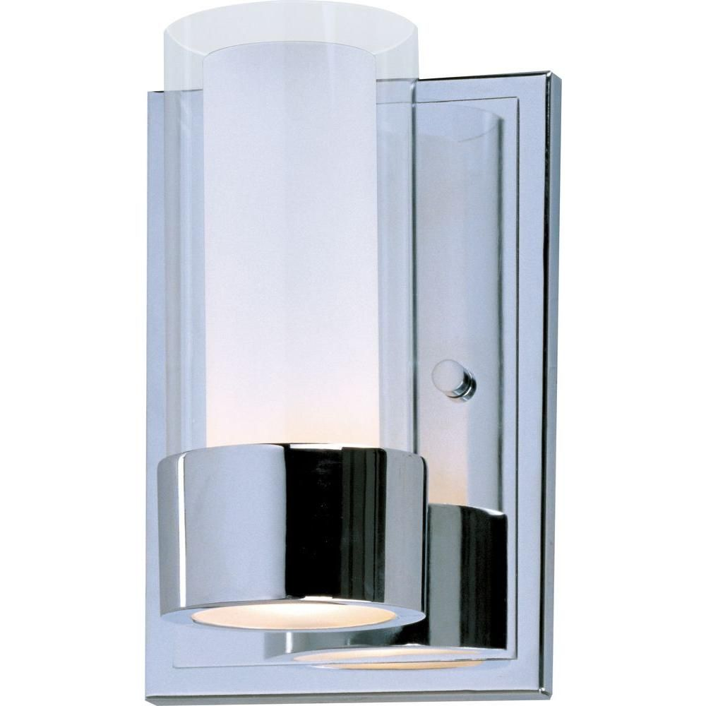 Maxim Lighting Silo 1 Light Polished Chrome Sconce 23071clftpc The Home Depot Wall Sconce Lighting Wall Lights Contemporary Wall Sconces