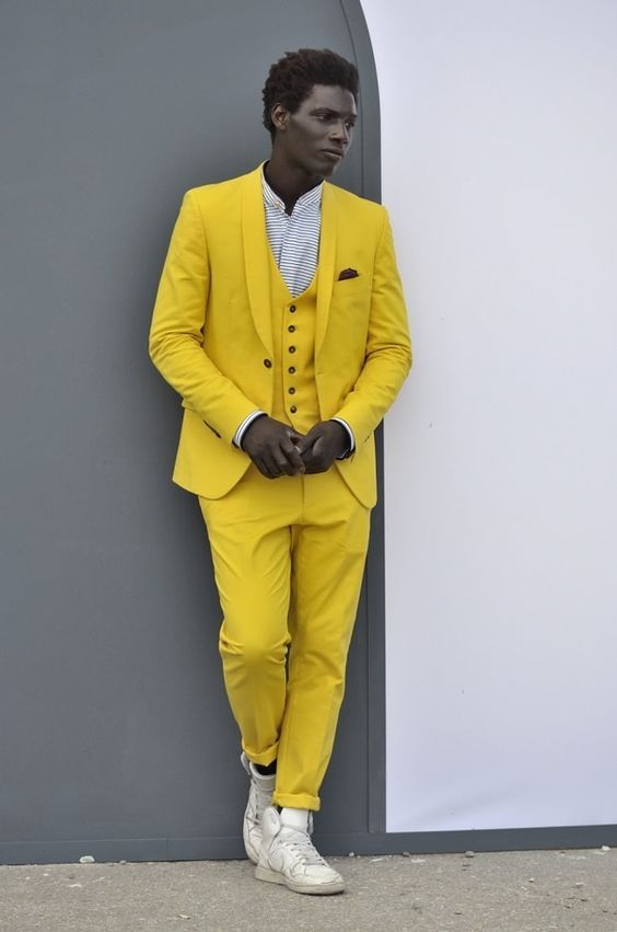 High Quality Handsome Yellow Slim Fit Tuxedos For Male 3 Pieces ...