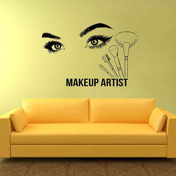 Eyes Wall Decals Eyelashes Wall Sticker Beauty Salon Tools Make Up ...