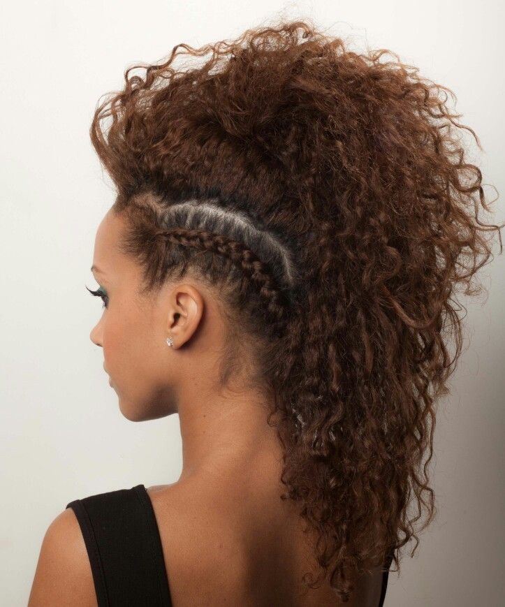 Curly Side Braided Faux Hawk Front Hair Styles Curly Side