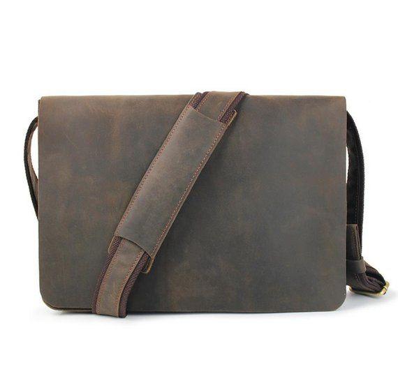 Leather Messenger Bag, Men s Briefcase, 13 Inch Laptop Satchel,Crossbody Bag,  Vintage a37ea12eede5