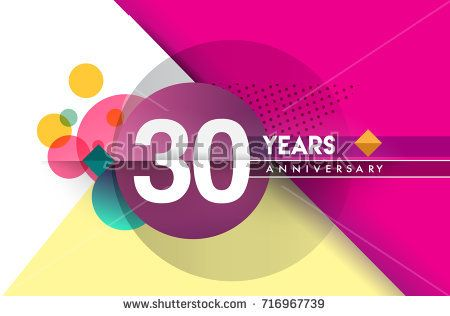30th years anniversary logo vector design birthday celebration with