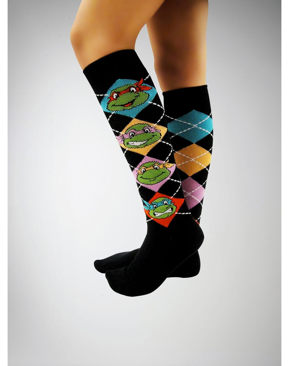 5a4a605339c Teenage Mutant Ninja Turtles Argyle Knee High Socks