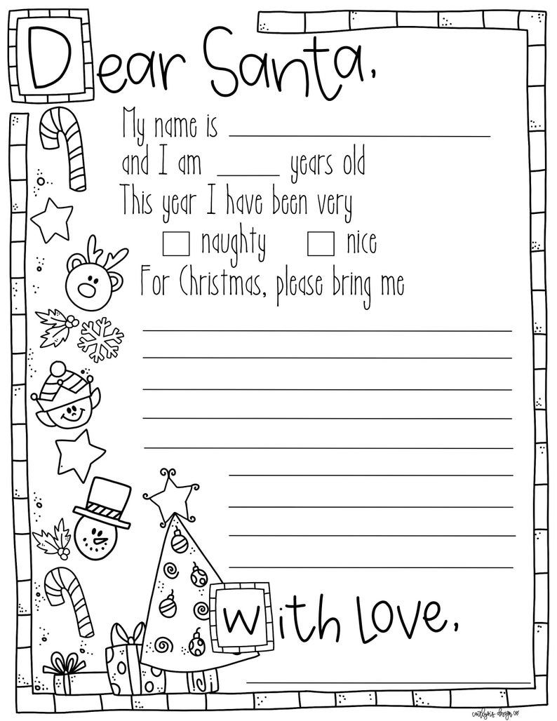 Free Colour In Letter To Santa Christmas Lettering Santa