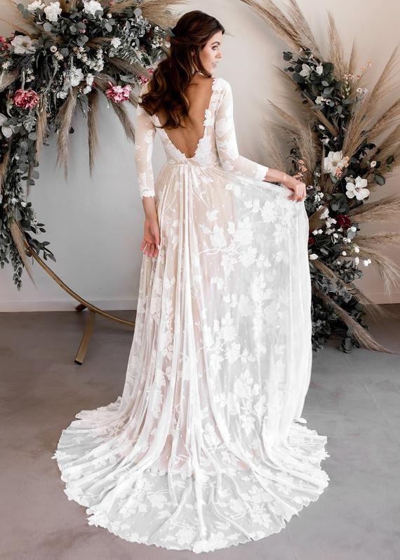 Long Sleeve Wedding Dress, Open Back Wedding Dress, Low Back Wedding Dress, Boat Neck Wedding Dress, Boho Wedding Dress - Ari Dress #bohoweddingdress