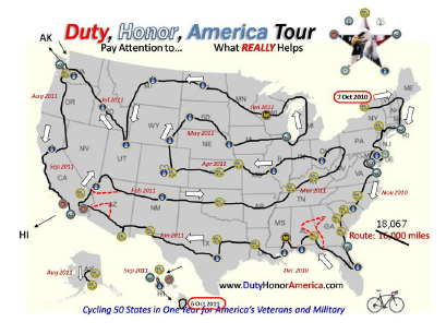 Map includes all 50 states.  (Originally for a bike tour, stops were approx 60 miles apart, and seasonally arranged for better temps, and included flights for Alaska & Hawaii.)  This would be GREAT!!!