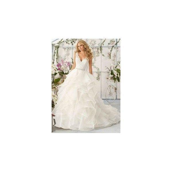 Ball-Gown Strapless Sweetheart Court Train Organza Wedding Dress With... ❤ liked on Polyvore featuring dresses and wedding dresses